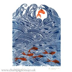 Seven fish for luck original screenprint £12.00
