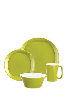 Dinnerware Round & Square Collection Green 16-Piece Set