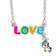New Neon Star By Tokidoki Love Rainbow Unicorn Charm Nameplate Necklace