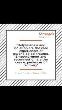 Helplessness & isolation are the core experiences of psychological trauma. Empowerment & reconnection are the core experiences of recovery. Psychology Disorders, Counseling Psychology, Psychology Facts, Interpersonal Relationship, Abusive Relationship, Toxic Relationships, Ptsd, Trauma, Learned Helplessness
