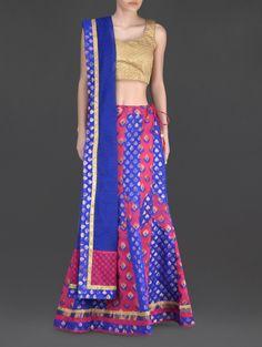 Dual Colour Panelled Lehenga - Buy Plume Lehengas For Women Online in India - LimeRoad.com | 1114476