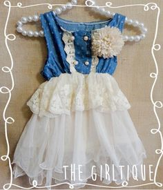 Baby Girl Clothes - First Birthday Dress - Country Birthday - Denim Beige Tutu - Barn Party - Cute Baby Girl Clothes - Lace Dress - Tutu