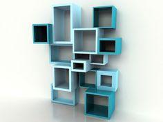 Stylish Blue and Turquoise Decorative Shelving Unit Design Idea with Cool Cubes Shelves for Bookshelves