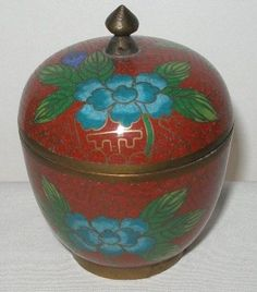 SMALL Gorgeous CLOISONNE Stash BOX or JAR with TOP Beautiful DESIGNS Rich COLORS