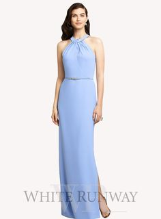 Gabbi Dress by Dessy Collections. Elegant full length dress by Dessy Collections. Halter style dress featuring a straight skirt with side slip.