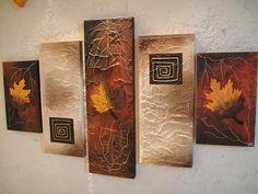 cuadros con hojas y flores secas - Buscar con Google Triptych Wall Art, Mural Wall Art, Diy Wall Art, Canvas Artwork, Sketch Painting, Diy Painting, Homemade Canvas, Panel Art, Small Art