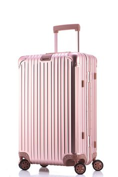 806713098 Free shipping 100% aluminium magnesium alloy luggage Universal wheel  lockbox metal box Men and women on board boxes pink