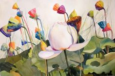 Party Pods lotus blossoms, painting by artist Kay Smith