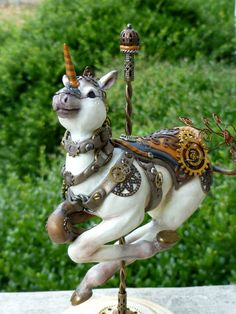 Hand-sculpted Polymer clay Steampunk Carousel Horse by MysticReflections