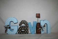 Baby boy name Wooden letters Personalized por WoodenWondersShop