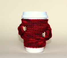 Coffee cozy. Travel mug cozy. Knit mug hug. Cup sleeve. Red berry Valentine's gift Eco-friendly mug sweater. Gift idea Starbucks cup holder