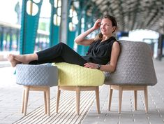 BOUNCE SEATING BY VÉRONIQUE BAER    Véronique Baer's Bounce is a conic foam sculpture which transforms into a soft and comfortable chair the moment someone sits on it.