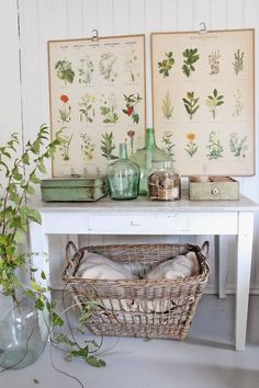 VIBEKE DESIGN great grouping with vintage posters, basket and demijohns