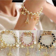 Handmade-Multi-element-Eiffel-Tower-Gold-Leather-Rope-Chain-Crystal-Bracelet-BD2