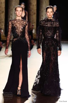 elie saab fall 2012 2013 couture sheer black lace gowns long sleeves - I'm his FAN! Love Fashion, High Fashion, Fashion Show, Fashion Poses, Fashion Editorials, Beautiful Gowns, Beautiful Outfits, Couture Fashion, Runway Fashion