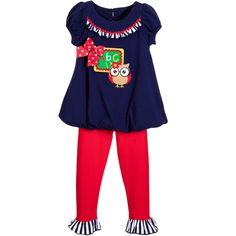 BONNIE JEAN Blue & Red Cotton 'Back to School' Dress & Leggings