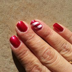 Candy cane manicure featuring Zoya Nail Polish in Sarah and Purity