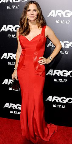 JENNIFER GARNER Maybe the actress and fellow new mom Kristin Cavallari are on to something with these flattering leather side panels. We love this version: a red-hot Monique Lhuillier gown, accessorized with a Bulgari clutch and statement cuff at the Argo premiere in Beverly Hills.