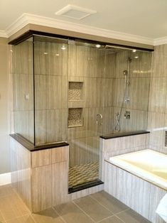 Frameless Glass Shower Enclosure Design Ideas, Pictures, Remodel, and Decor