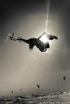"#lufelive @lufelive #kiteboarding #kitesurfing ""Another sunset sesh"" by Sebastiaan Hogenboom, via 500px."