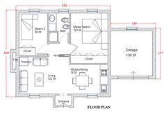 European Style House Plan - 2 Beds 1 Baths 566 Sq/Ft Plan #542-6 Floor Plan - Main Floor Plan - Houseplans.com
