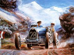 ... Art of Vaclav Zapadlik - Bugatti Vintage Car, Vintage Bugatti Racing
