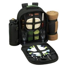 Picnic At Ascot Eco Picnic Backpack with Blanket for 2 - Hunter Green - 080X-FO, Durable