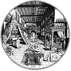 "One of the most famous engravings from European alchemy is a woodcut esoteric mandala designed by alchemical adept and doctor of medicine, Hienrich Khunrath, for his masterful treatise Amphitheater of Eternal Wisdom published in 1604.  The alchemical mandala engraving titled ""The First Stage of the Great Work"" is a circle that contains the alchemists' workshop where all the elements in it are drawn in perspective toward an offset center ."