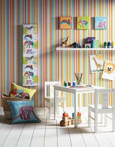 Earn Your Stripes - A perfect co-ordinate or simply a smart statement stripe on its own, this wallcovering will finish off the perfect children's bedroom