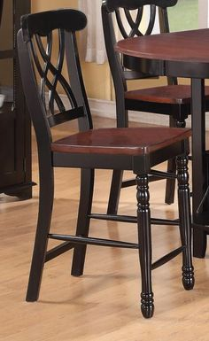Set of 2 Addison II collection black and cherry finish wood counter height bar stools