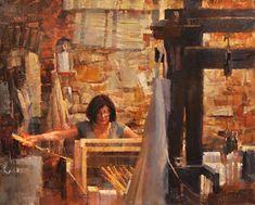"Genre Silk Weaver No. 2 by James Crandall Oil ~ 24"" x 30"":"
