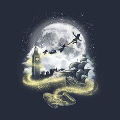 Pixie dust road - Peter Pan - T-Shirt Disney Marvel, Disney Pixar, Art Disney, Disney Kunst, Disney Images, Disney And Dreamworks, Disney Love, Peter Pan Wallpaper, Desenho Peter Pan