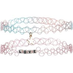 Accessorize 2x Tattoo Love Choker Necklace Pack ($10) ❤ liked on Polyvore featuring jewelry, necklaces, bead charms, beaded necklaces, charm necklace, initial necklace and stretch choker necklace