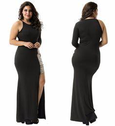 fc4eb93210 Sexy Plus Size Women s Gold Sequin Black Maxi Mini Evening Party Formal  Dress