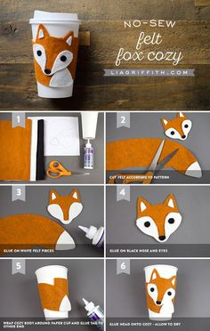 No Sew DIY Cup Cozy Steps) - No Sew Felt Fox Cup Cozy You are in the right place about useful crafts Here we offer you the most - Fox Crafts, Cute Crafts, Diy And Crafts, Craft Projects, Sewing Projects, Crafts For Kids, No Sew Crafts, Felt Projects, Fabric Crafts