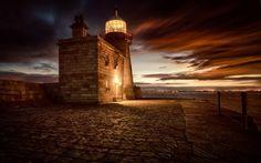 beautiful stone lighthouse at twilight hdr - stone, bay, light, lighthouse, twilight