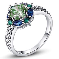 Saucy Ovale Cut Rainbow /& White Topaz gemstone silver rings Taille 6 7 8 9 10 11 12