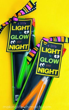 Give NEON GLOW STICKS for Halloween night with adorable tag! Found in the $1.00 section at Target!