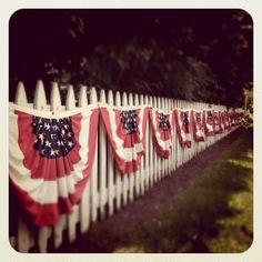 patriotic white picket fence is SOOO Awesome! Patriotic Bunting, Patriotic Decorations, Bunting Banner, 4th Of July Party, Fourth Of July, American Pride, American Flag, White Picket Fence, Picket Fences