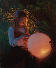 Her Lantern by Warren F. Neary, oil painting of a girl holding a lantern Abstract Canvas, Oil Painting On Canvas, Painting Frames, Painting Abstract, Portrait Images, Portrait Art, Painting Portraits, Paintings, Palette Knife Painting