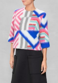SADIE WILLIAMS Soft fuzzy wool is clashed with a shimmering silver fabric to create this boxy whimsical sweater featuring vivid graphic pattern at front and on sleeves.
