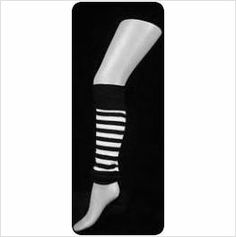 Black/White Stripe Leg Warmers Irish Dancing Fancy Dress Overknee Footless Sock on eBid United Kingdom