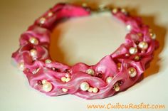 handmade fuchsia statement necklace