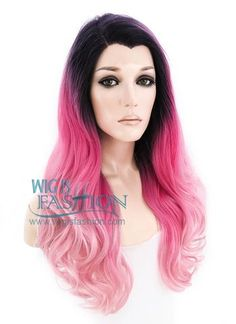 """24"""" Long Curly Two Tone Pink with Dark Roots Lace Front Synthetic Fash 