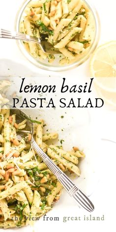 Lemon basil pasta salad is a zippy fresh tasting side fit for the summer-iest meals (or any time you want to conjure up a warm sunny vibe in your kitchen.) My special basil mayonnaise is a total summer salad game changer! This easy recipe is destined to become a family favorite. #pasta #salad #basil #lemon Summer Pasta Recipes, Tortellini Recipes, Easy Salad Recipes, Salad Dressing Recipes, Side Dish Recipes, Vegetarian Recipes, Side Dishes, Basil Recipes, Vegetarian Cooking
