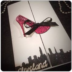 SEX in the CITY Themed Invitations with High Heel for Birthday, Xmas, Bachelorette Party- Wedding or Lingerie Shower~with matching envelopes by OneChelleOfAMug on Etsy https://www.etsy.com/listing/229748589/sex-in-the-city-themed-invitations-with