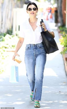 Getting ready: The Pretty Little Liars star is gearing up for her appearance at the Co:Labs Fitness Festival on the and Trendy Summer Outfits, Classy Outfits, Fall Outfits, Casual Outfits, Cute Outfits, Fashion Outfits, Lucy Hale Outfits, Lucy Hale Style, Celebrity Look