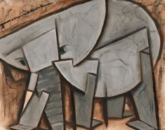 Elephant paintings | Cubism elephant, by Tommervik