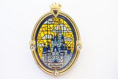 This retired Disney pin for sale features a gorgeous detailed stained glass window or portrait of a mosaic looking Cinderella's Castle from Walt Disney World. I