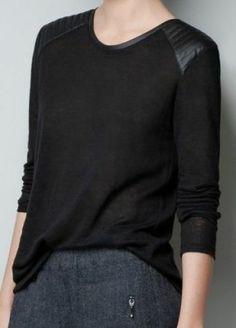 #SheInside Black Shoulder Contrast PU Leather Loose T-Shirt - Sheinside.com